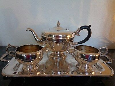 Vintage Viking Silver Plate On Copper Tea/coffee Set Service 4 Feet Handled Tray
