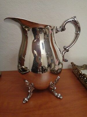 Vintage English Silver Plate On Copper Water Pitcher Jug With Ice Lip &Claw Feet