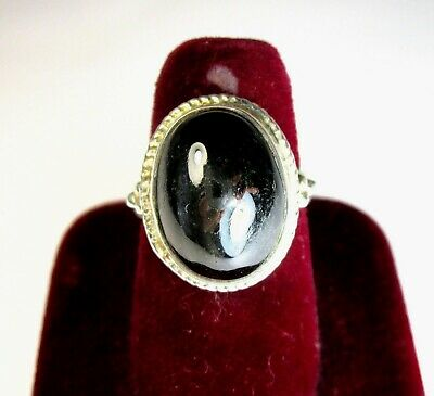 Vintage 925 St. Silver Ring Studded With Black Onyx
