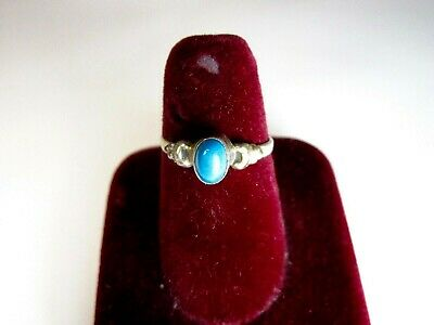 Vintage 925 St. Silver Ring Studded With Oval Turquoise