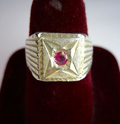 Vintage 925 St. Silver Ring Studded With Cut Ruby
