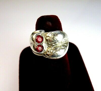 Vintage 925 St. Silver Ring Studded With Cut Rubies