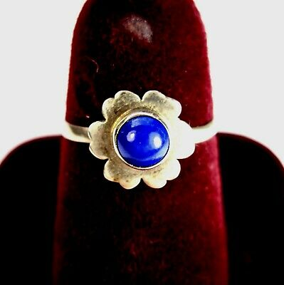 Vintage 925 St. Silver Ring Studded With Round Lapis Lazuli