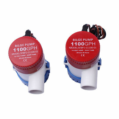 2X  Marine Boat Bilge Water Pump 1100 GPH 12V Silent Submersible
