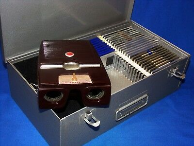 SERVICED 1950 Kodak Kodaslide II 2 Stereo Realist Viewer w/ Case & 109 3D Slides