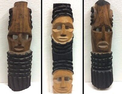 3, Three Hand Carved in Zimbabwa ~ Teak Wood African Head Mask ~ Figurine Statue