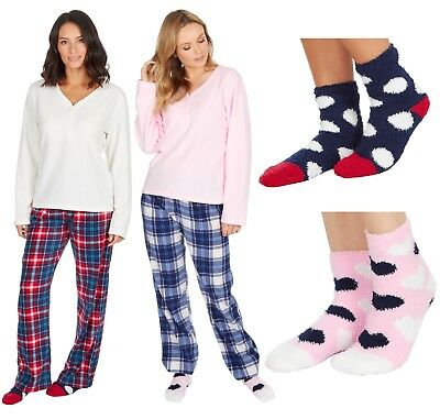 Ladies Girls Soft Fleece Tartan bottoms Pyjama Set with Cosy Socks