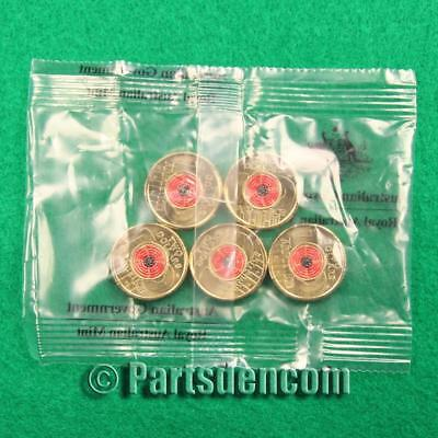 5 x 2018 Poppy red coloured $2 two dollar coin coins Remembrance Day RAM bag