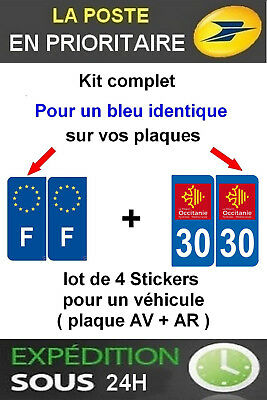 4 Stickers Logo Region + F Plaque Immatriculation Departement 30 Occitanie