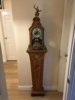 Gilt Mounted 20th Century Walnut Inlaid Veneered Bracket Clock on Pedestal