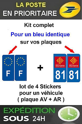 4 Stickers Logo Region + F Plaque Immatriculation Departement 81 Occitanie