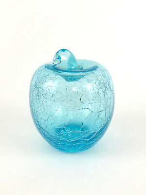 vintage KANAWHA ART GLASS, blue crackle glass APPLE paperweight