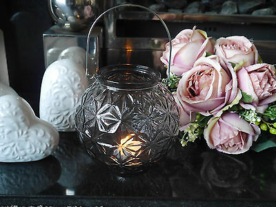 Round Globe Shaped Smoked Glass Tea Light Holder With Cut Glass Effect 15cm