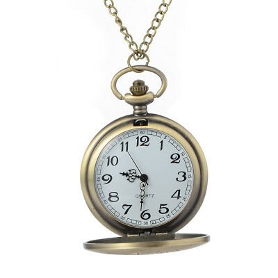 Vintage Steampunk Retro Bronze  Dr. Who Pocket Watch Quartz Pendant Necklace