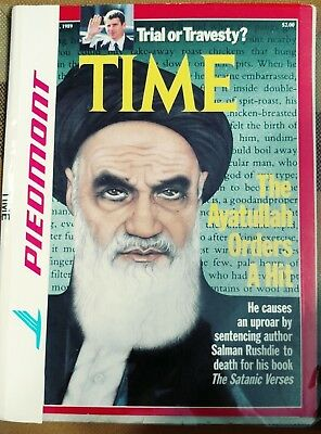 Piedmont Airlines Magazine With Plastic Cover Ayatullah Time Feb 27, 1989