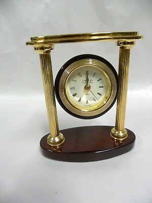 Danbury Small Wood & Brass Desk Shelf Quartz Clock (D)