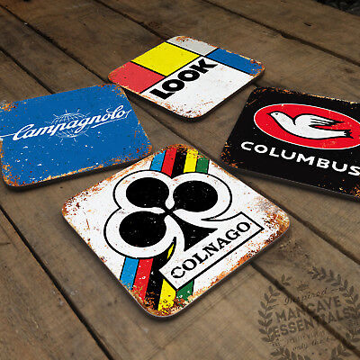Vintage Cycling Collection Glossy Wooden Coaster Retro Bike Gift Cyclist Drinks