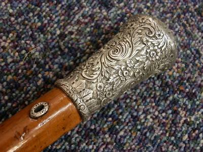 Antique Malacca Walking Stick With Intricately Engraved Detailed Silver Top