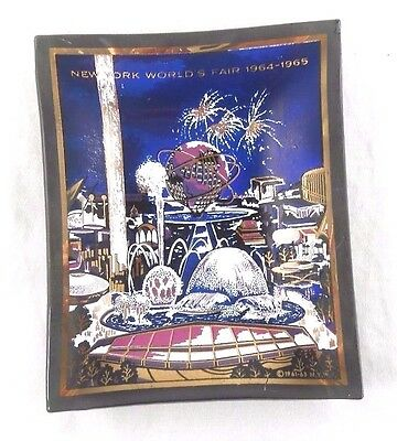 Vintage New York World's Fair Souvenir Glass 1964-65 Tray Dish, Houze Art