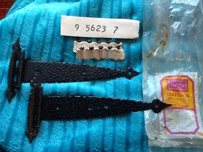 "2 Vintage NOS Mid Century Sears Craftsman Black Hammered 6 1/2"" Strap Hinges"