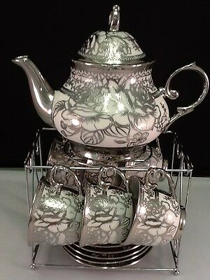 13pc Chinese Tea Sets - Tea Pot & 6 Cups & Saucers w Rack.Silver tone 3 oz Cups