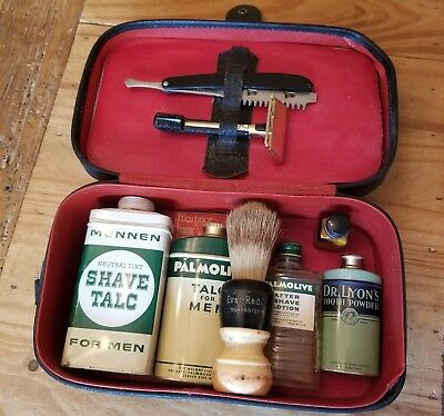1940's men's leather grooming kit, wet shaving, razor, barbershop vintage