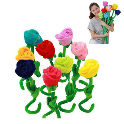 Plush Flower Toy Rose Flower Soft Stuffed Colorful Gift Decoration Flower Toy