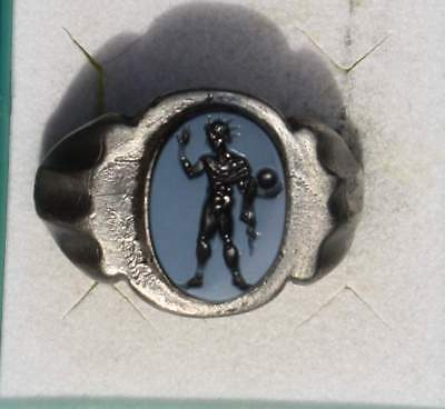 Solid Roman Style Silver Intaglio Signet Seal Ring