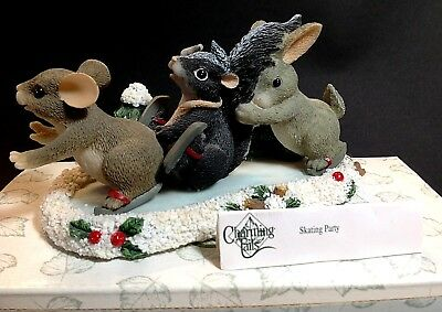 Charming Tails Figurine Ice Skating Party Snow Christmas Winter w/Box 87/103