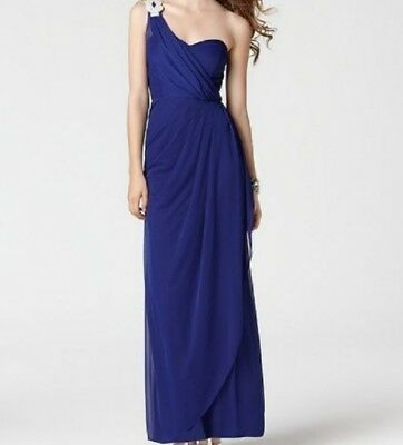 VGC Camille La Vie 6P One Shoulder Royal Blue Formal Dress Gown Prom Rhinestone