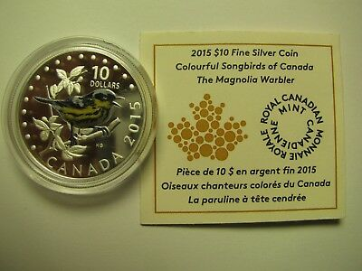 2015 Proof $10 Colourful Songbirds #2-Magnolia Warbler COIN&COA ONLY Canada .999
