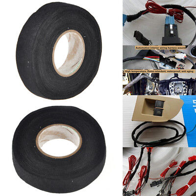 Tape Adhesive Lint Sticky Cloth Fabric Wiring Loom Use 15m *19mm For Car