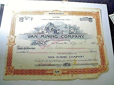 1899 Stock Certificate, Van Mining Co, San Francisco