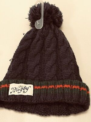 32957029ae90b Joules Teal Blue Green Red Stripe bobble beanie hat Size S M BNWOT
