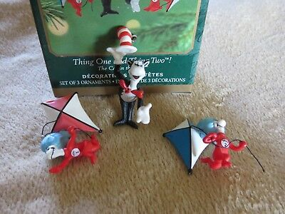 Hallmark Dr Suess Thing 1 & 2 Cat In The Hat Xmas miniature Ornament Set 3 lot