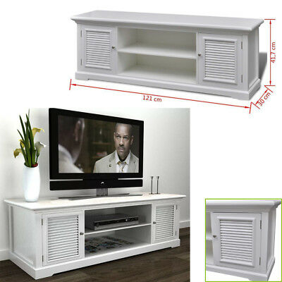 White Wooden TV Stand Cabinet Home Storage Entertainment Center 2 Tier 2 Doors
