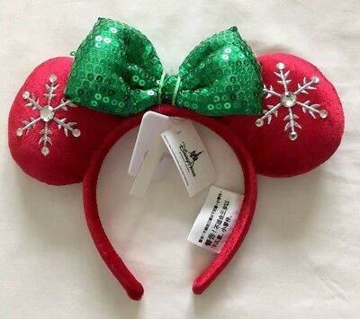 Disney Parks Holiday Christmas Red And Green Snowflake Minnie Ears Headband NWT