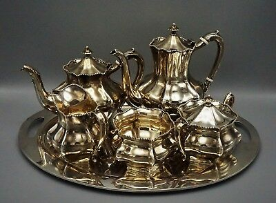 Reed And Barton Sterling Silver Old 6 Piece Tea Coffee Set Include Sterling Tray