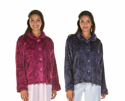 Lady Olga Sweet Embrace Soft Feel Embossed  Zip Front Dressing Gown coat
