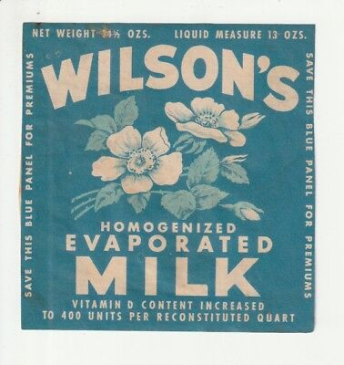 "Vintage, Wilson's Evaporated Milk Collectible Label For Merchandise ""..."