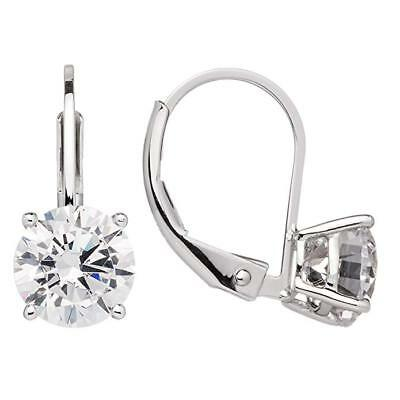 3 Ct Round Cut Created Diamond Leverback Earrings Real Solid 14K White Gold