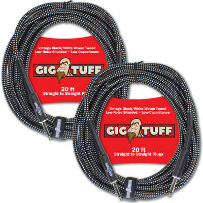 2-Pack Gig Tuff Pro 20ft Guitar Instrument Cable Woven Tweed 1/4 Free Tie NEW