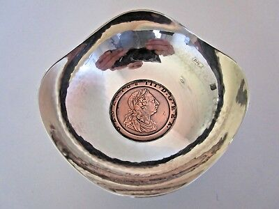 Silver Bowl Set with 1797 Cartwheel Penny Coin, A E Jones, (A)