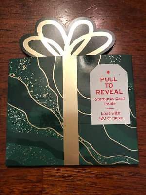 STARBUCKS 2018 HOLIDAY PULL TO REVEAL Green & GOLD GIFT CARD & HOLDER