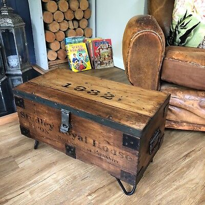 STUDLEY ROYAL HOUSE INDUSTRIAL Chest COFFEE TABLE Storage Trunk FREE UK DELIVERY