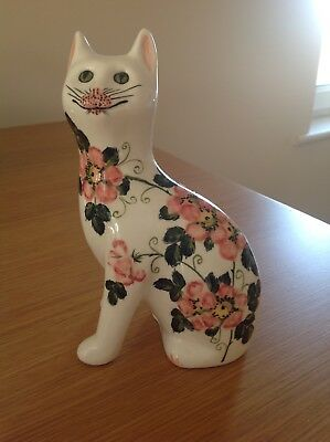 Griselda Hill Pottery, Wemyss- Seated Wild Rose Galle Cat Figure, Signed