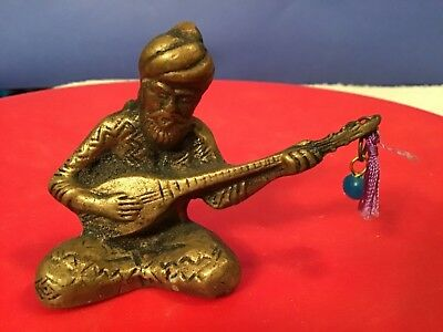 OLD VINTAGE Brass Man Playing an Indian Music Instrument India Statue guitar,