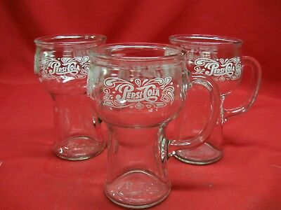 Vintage 1970'S Pepsi Cola Glass Mugs - Set Of Three- All Excellent