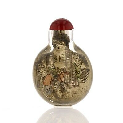 Chinese Antique Snuff Bottle. Glass, Interior Painted. Vintage. Round. 882182