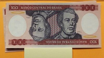 ND 1981-1985 Brazil 100 Cruzeiros banknotes lot of 3 unc one has corner wrinkle